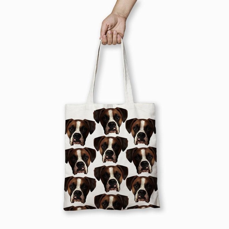 Pet Gift Canvas Tote Bag Animal Prints \u2013 Custom Eco Dog Tote Boxer Cotton Tote Bag Dog Lover \u2013 Dog Print Funny Shopping Bag Large