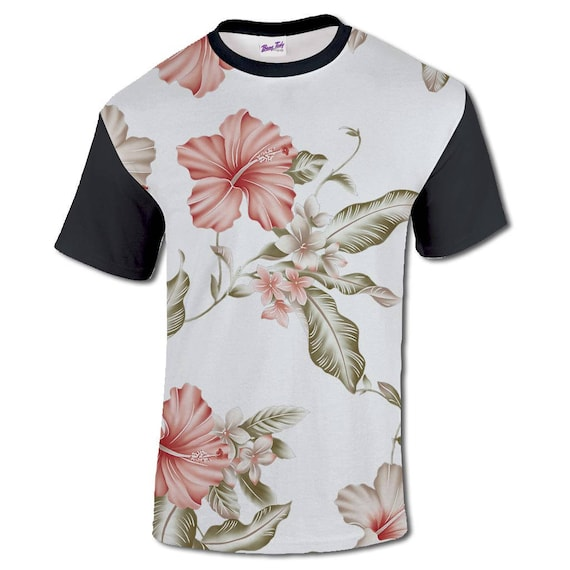 All Over Print Floral graphique T Shirt Sublimation noir Hibiscus Sublimation Shirt Hipster mode Cool mode Festival 5c3868