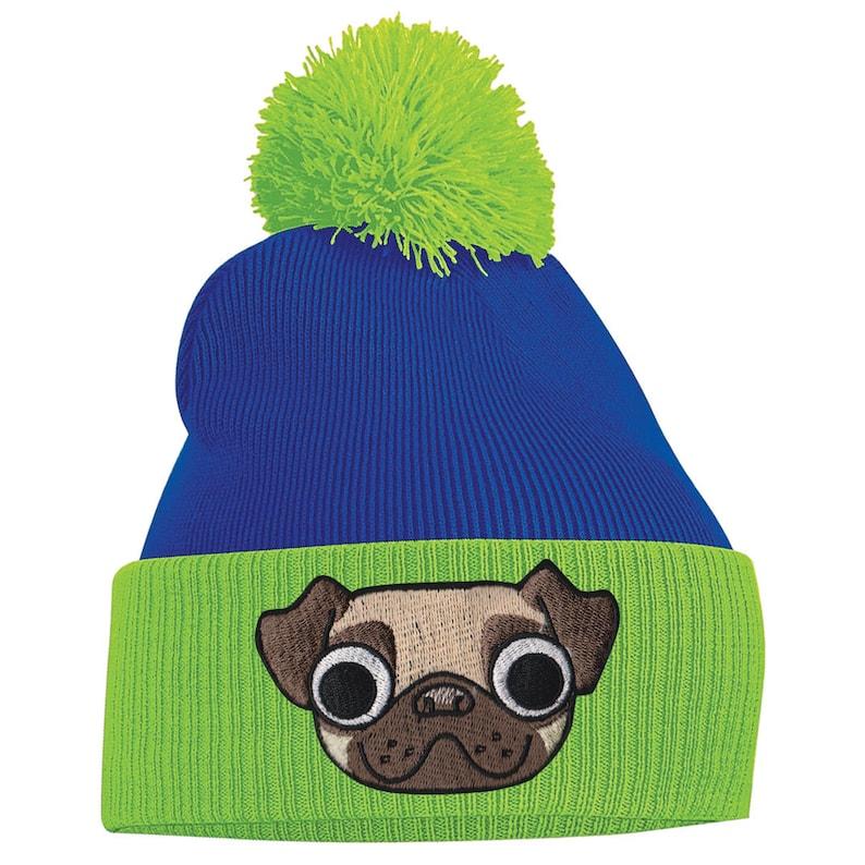 Pug Beanie Pug Gifts Pug mug face Animal pug bobble hat  aeda81ecc