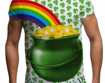 Men's St Patricks Day Pot of Gold Rainbow Shamrock Funny T shirt for St Paddy's Day