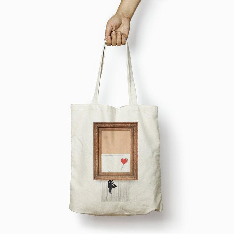 Banksy Tote Bag Cotton Tote \u2013 Baloon Girl Tote Fabric Shoulder Bag Shopping Tote \u2013 Custom Tote Bag Reusable Shopping Bag Market Grocery Bag