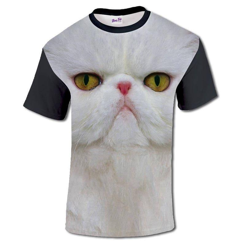 0887c29e6eb0 3D Print T Shirt With Persian Cat Face Sublimation Mens | Etsy
