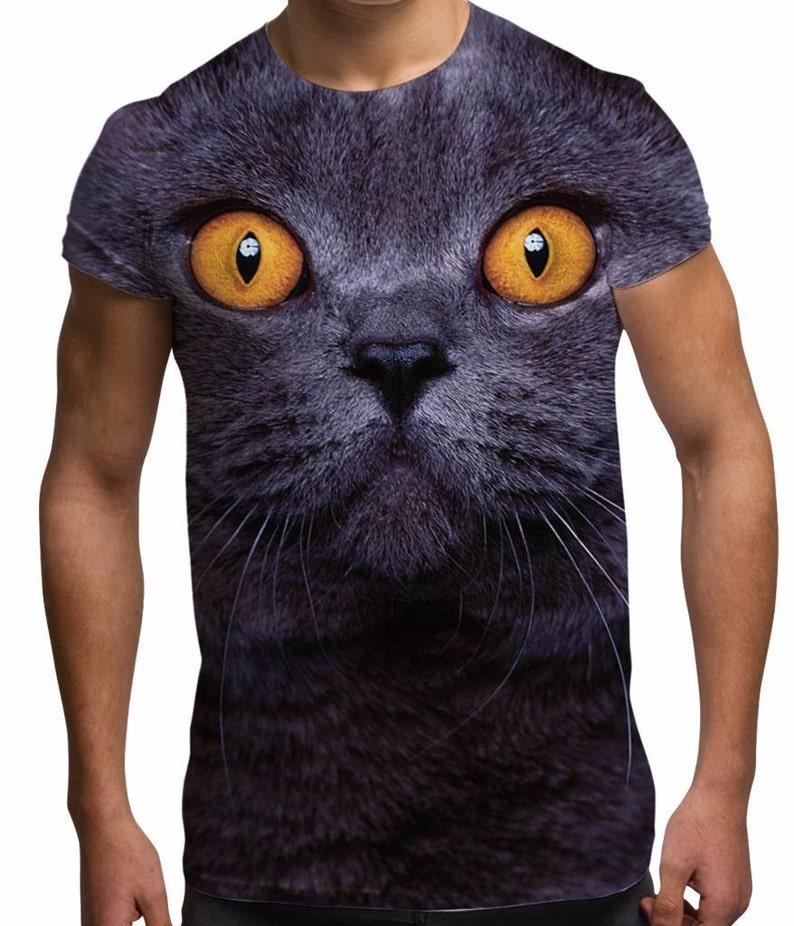 e6496191fb24 Animal Face Graphic T Shirt Big Cat Face Men's Sublimation | Etsy