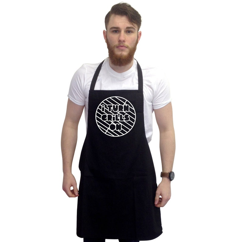BBQ I Turn Grills On Barbecue Grill Gift For Men Funny BBQ Apron Grilling Gift Novelty Fathers Day Grilling Gift