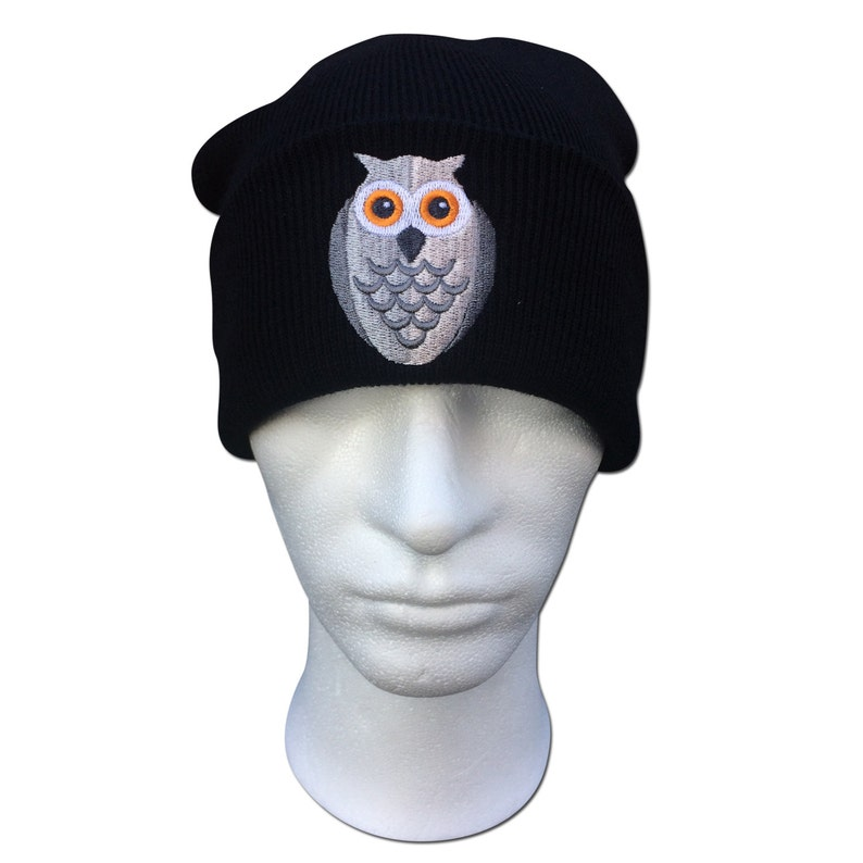 6027bc53 Cute Owl Face Birds Embroidered Turn up Fashionable Ribbed   Etsy