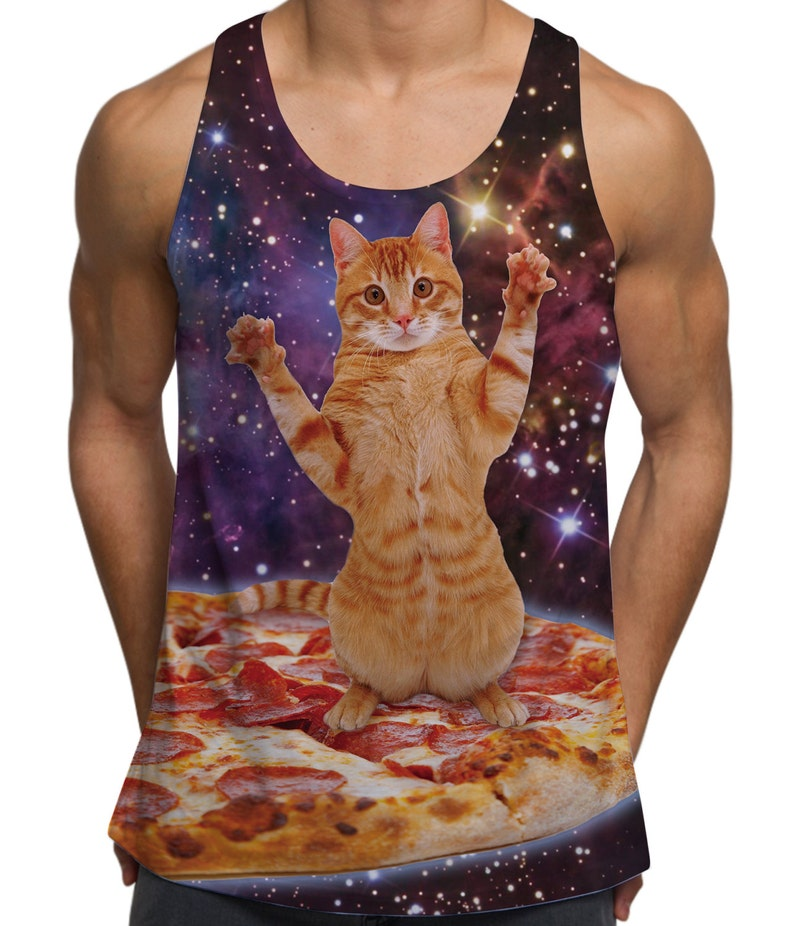 Pizza Cat In Space Hipster Unisex Vest All Over Print Gym Hipster Festival Fashion Men/'s Tank Top