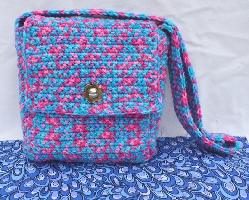 Hot Pink And Electric Blue Messenger Bag Neon Crochet Purse Etsy