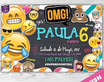EMOJI Invitacion - EMOJI- OMG - Invitacion Emoji - Fiesta Emoji - Carita Feliz -  Español personalizada para imprimir