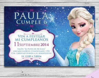 Frozen Invitacion Español - Frozen Party Invitation-  Personalizada para Imprimir - Elsa & Anna Custom Printable Invite - Disney - Spanish
