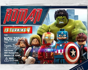 Lego Avengers Invitation-Lego Invite- Avengers Printable Invite- Avengers Lego Birthday Invitation Digital File Personalized