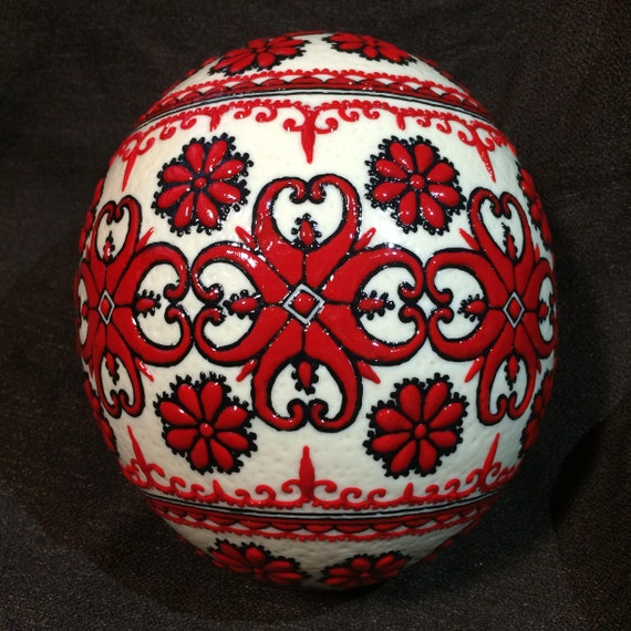 Hand painted with colored wax real ostrich egg