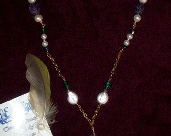 """Jades promise 23"""" genuine freshwater pearl and gemstone necklace"""