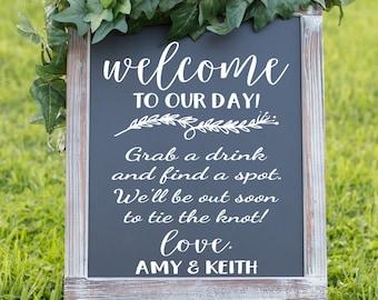 Wedding Sign Decals, Chalkboard Decals, Welcome Wedding Sign, Wedding Sign, Custom Wedding Sign, Wedding Signage, Welcome Wedding, Rustic