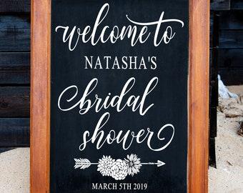 bridal shower sign bridal shower bridal shower decor rustic bridal shower wedding shower personalized sign chalkboard sign vinyl