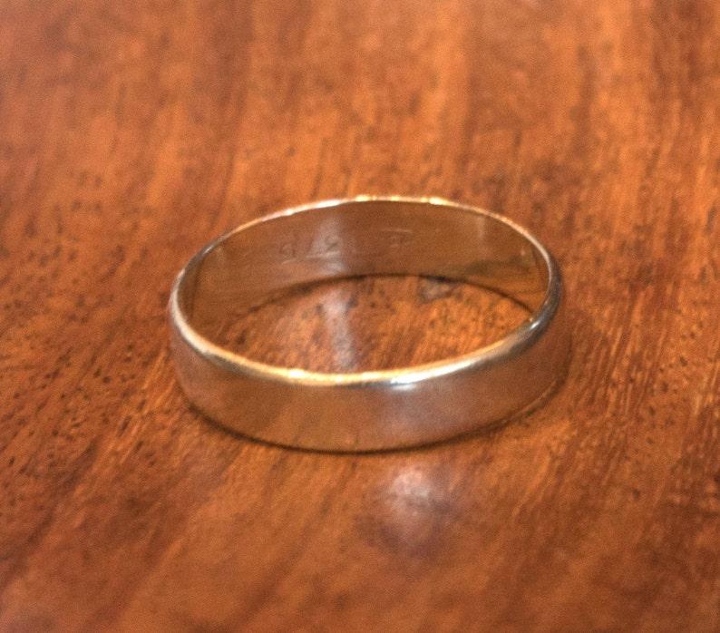 b495f37da1fe8 9ct gold men's wedding band Marked BM 375 B 3.21gms Size U US 10 1/4 4.5mm  wide flat yellow gold men's wedding band