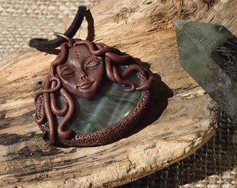 OOAK 'Gaia' Labradorite pendant (crystal, gemstone, polymer clay, leather) - 'Chronicles' collection