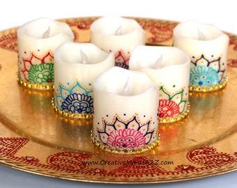 Henna Led Candles Etsy