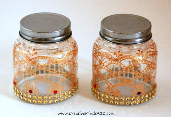 Henna Decorated Glass Jars Wedding Favorbaby Shower Etsy