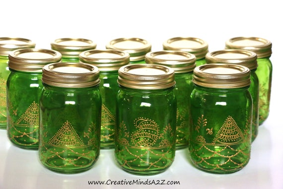 Set Of 12 Henna Decorated Glass 16oz Mason Jars Wedding Favor Etsy