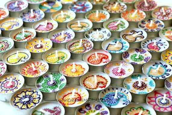 Set Of 25 Handpainted Beautiful Henna Tealights Diwali Etsy