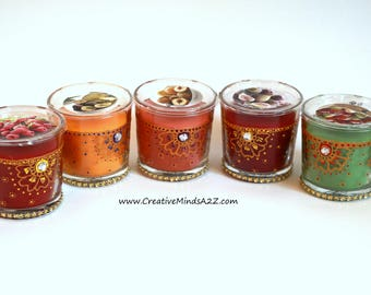Hand painted scented candle in Glass/Diwali decor/Home decor /Wedding decor/Party Favors/Colorful henna tealights/ Diwali favor/Mehndi nite