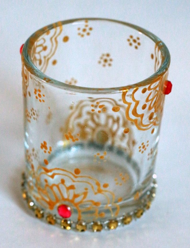 Set of 4 Beautiful decorated glass candle holderTea light holderDiwali decorIndianhenna artdecorated tea lightswedding favors
