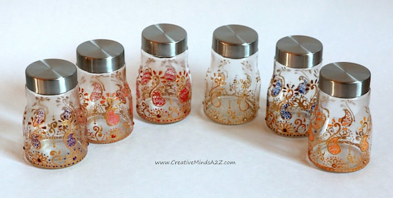 Set Of 6 Henna Decorated Glass Jars Wedding Favorbaby Shower Etsy