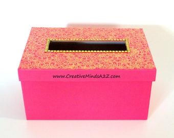 Beautiful Henna decorated retangle shaped box- valentine card box- Valentine Card exchange box- card box
