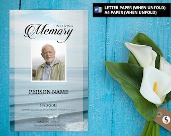 SEA BEACH | Funeral Program Template, Obituary Program, Memorial Program  Template, Microsoft Word Template