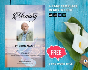 angelic dove funeral program template obituary program etsy