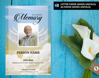 ANGEL WING Funeral Program Template Obituary Program