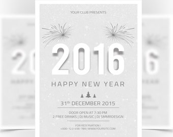 new year 2016 party invitation flyer template new year invitation card instant download digital photoshop file