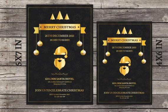 Plantilla De Flyer De Invitación Navidad Oro Tarjeta De Invitación De Navidad Oro Archivo De Photoshop Digital De Descarga Inmediata