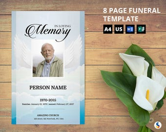 angel wing 8 page funeral program booklet template obituary program memorial program template microsoft word template