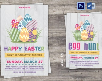 Easter Invitation Card/Flyer | Easter Party Invitation Flyer | Instant Download Photoshop Template | Microsoft Word