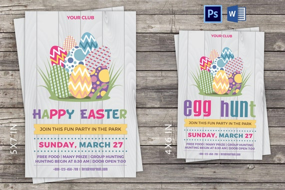 Easter Invitation Card Flyer Easter Party Invitation Flyer Instant Download Photoshop Template Microsoft Word