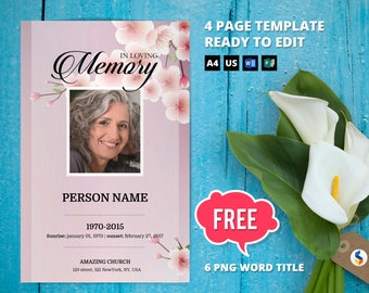 Angelic dove funeral program template obituary program cherry blossom funeral program template obituary program memorial program template microsoft word and publisher template maxwellsz