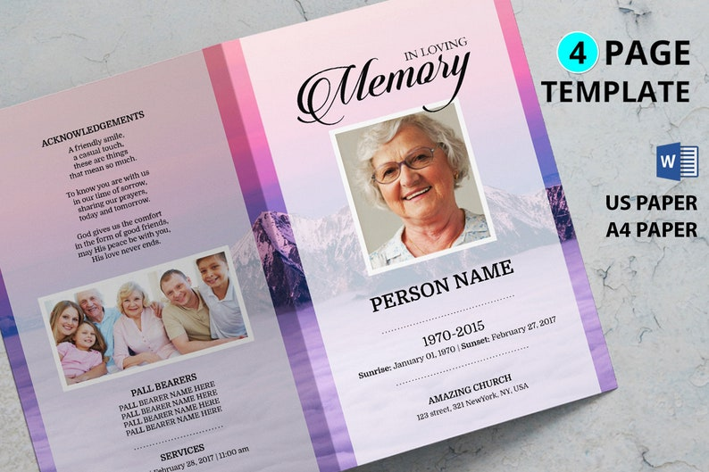 MOUNTAIN Printable Funeral Program Template Microsoft Word Template Funeral Program Template