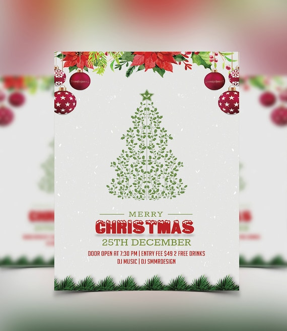 Christmas Party Flyer Template.Christmas Party Flyer Template Christmas Invitation Flyer Printable Instant Download Photoshop Photoshop Elements And Ms Word File