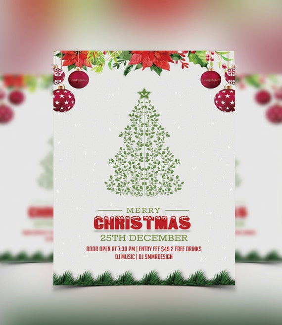 Christmas Party Flyer.Christmas Party Flyer Template Christmas Invitation Flyer Printable Instant Download Photoshop Photoshop Elements And Ms Word File