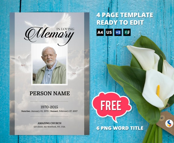 angelic dove funeral program template obituary program etsy