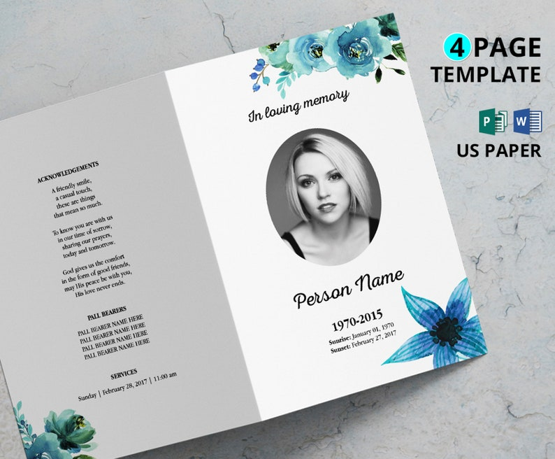 WATERCOLOR FLOWER | Funeral Program Template, Obituary Program, Memorial  Program Template, Microsoft Word and Publisher Template