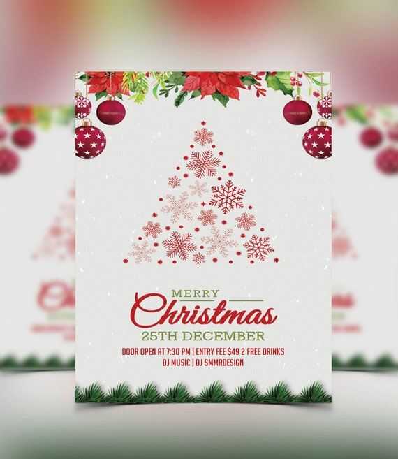 Christmas Party Invitation Flyer Christmas Invitation Card Photoshop Ms Word Template