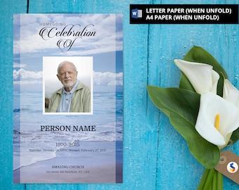 ANGELIC DOVE Funeral Program Template Obituary Program