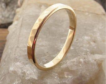 Water Ripples yellow gold ladies 2mm wedding ring, handmade original design for women.