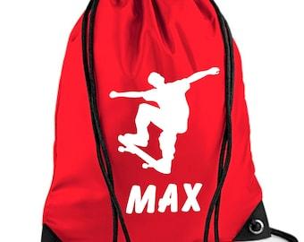 *Choice of colours* Personalised Childs Skateboard PESwim DuffleDrawstring Bag