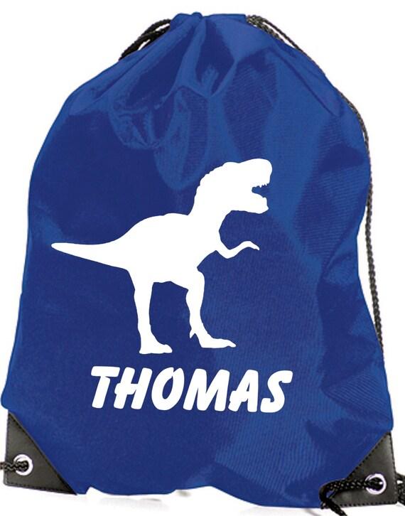 Personnalisé sac dinosaure/T Rex PE/Swim Duffle/cordon de serrage pour enfant - * choix de la couleurs