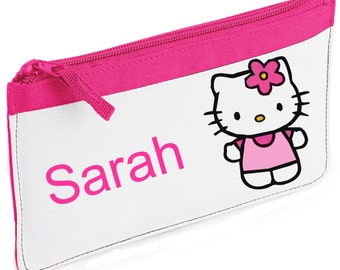 Personalised Hello Kitty With Flower Pencil Case