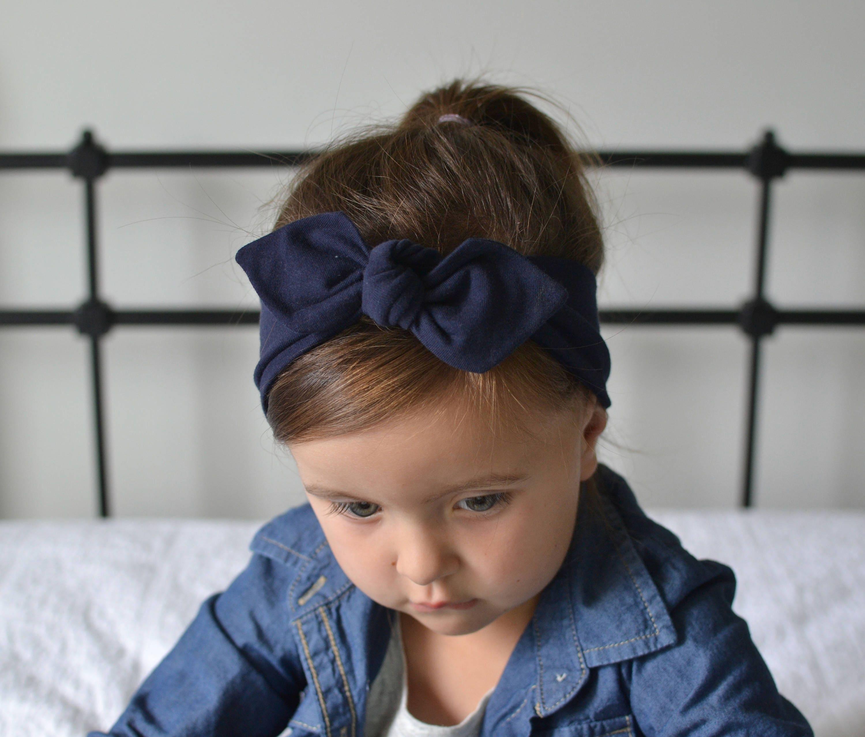 Navy Blue Baby Bow Headwrap Baby Turban Child s Turban  12d32a80b4e