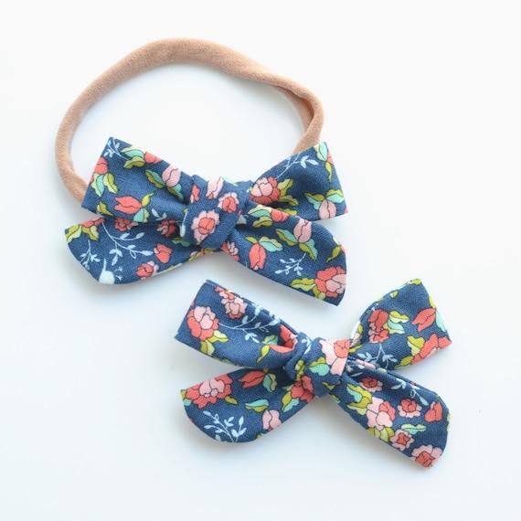 Orange Floral Schoolgirl Bow  Baby Bow  Hand Tied Bow on Nylon Headband or Clip   Stretchy Baby Bow Headband  Baby Shower Gift